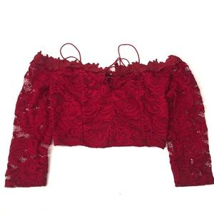 NWT PAPERMOON Red Lace Cold Shoulder Crop Top